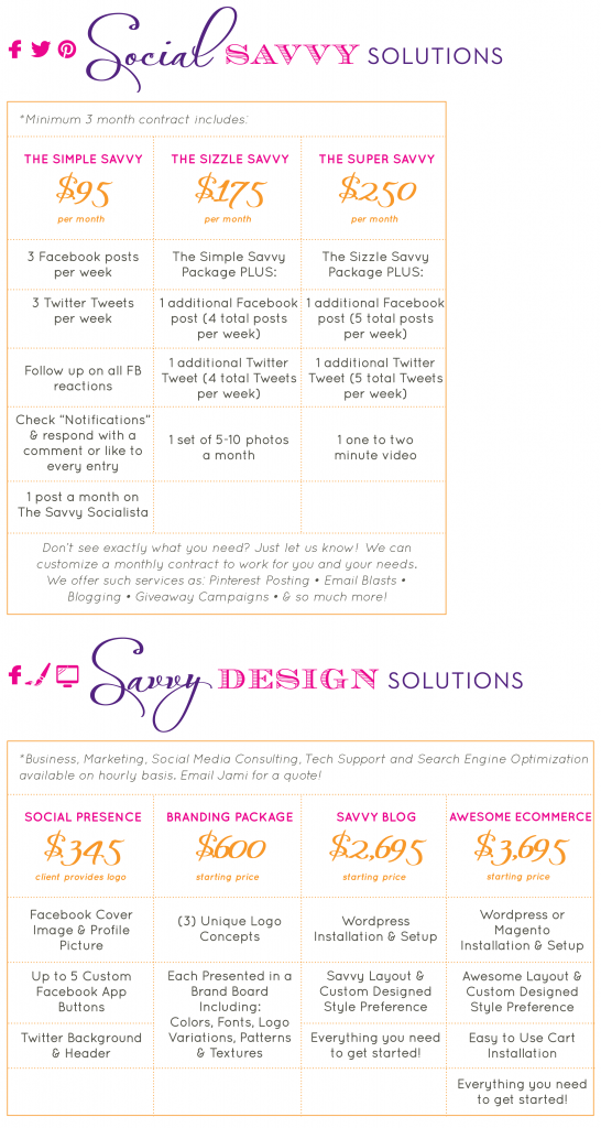 The Savvy Socialista Pricing Table